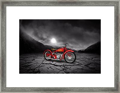 Indian Scout 1928 Mountains Framed Print by Aged Pixel