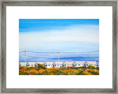 Indian Summer Days Cottages North Truro Massachusetts Watercolor Painting Framed Print by Michelle Wiarda