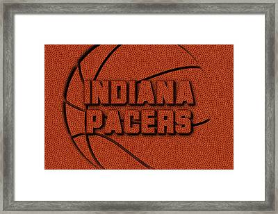 Indiana Pacers Leather Art Framed Print by Joe Hamilton