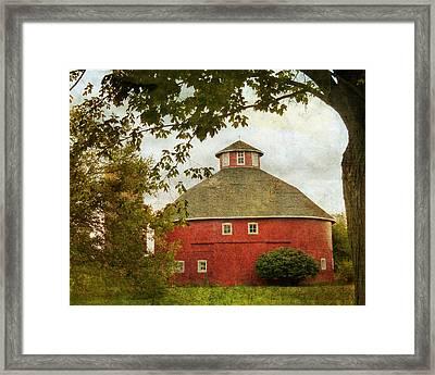 Indiana Round Barn Framed Print by Karen Castillo
