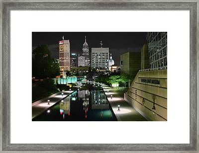 Indianapolis Canal Night View Framed Print by Frozen in Time Fine Art Photography