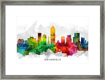 Indianapolis Indiana Cityscape 12 Framed Print by Aged Pixel