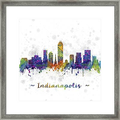 Indianapolis Indiana Skyline Color 03sq Framed Print by Aged Pixel