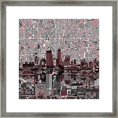 Indianapolis Skyline Abstract 1 Framed Print by Bekim Art