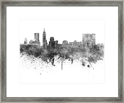 Indianapolis Skyline In Black Watercolor On White Background Framed Print by Pablo Romero