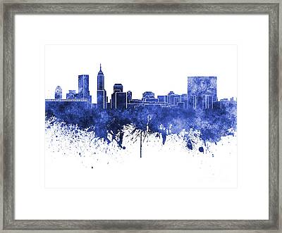 Indianapolis Skyline In Blue Watercolor On White Background Framed Print by Pablo Romero