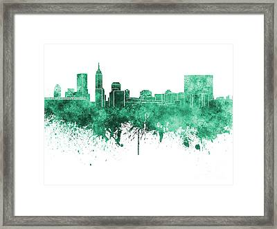 Indianapolis Skyline In Green Watercolor On White Background Framed Print by Pablo Romero