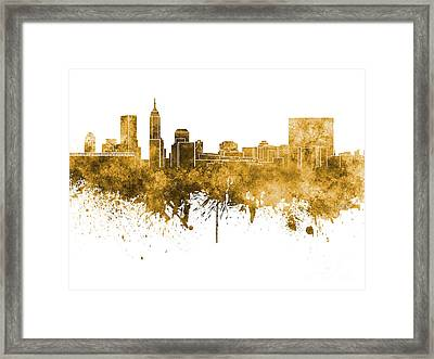 Indianapolis Skyline In Orange Watercolor On White Background Framed Print by Pablo Romero