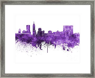 Indianapolis Skyline In Purple Watercolor On White Background Framed Print by Pablo Romero