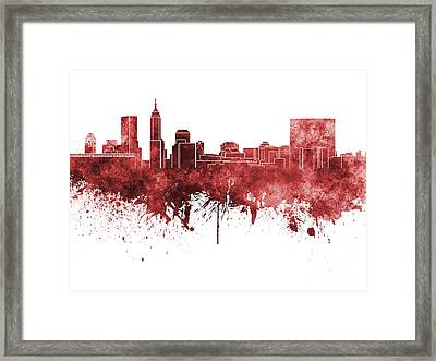 Indianapolis Skyline In Red Watercolor On White Background Framed Print by Pablo Romero