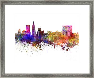 Indianapolis Skyline In Watercolor On White Background Framed Print by Pablo Romero