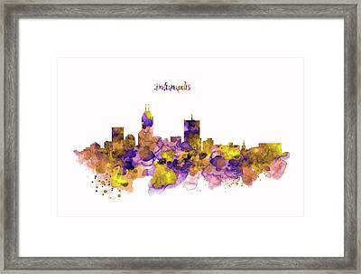 Indianapolis Skyline Silhouette Framed Print by Marian Voicu