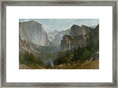 Indians At Campfire Yosemite Valley Framed Print by Thomas Hill