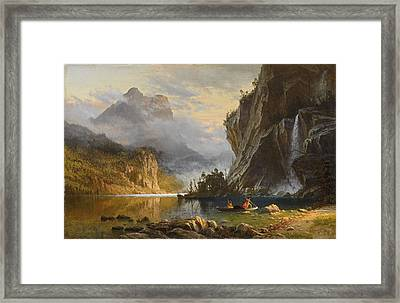 Indians  Spear  Fishing Framed Print by Celestial Images