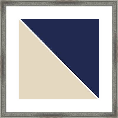 Indigo And Sand Geometric Framed Print by Linda Woods