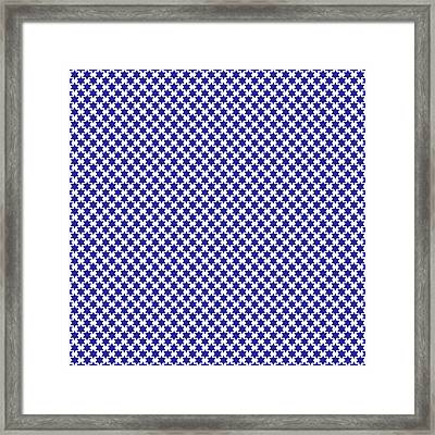Indigo And White Star Of David- Art By Linda Woods Framed Print by Linda Woods