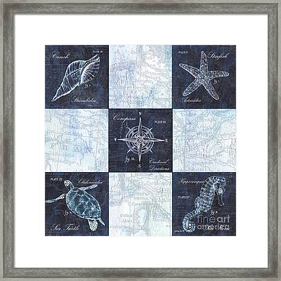 Indigo Nautical Collage Framed Print by Debbie DeWitt