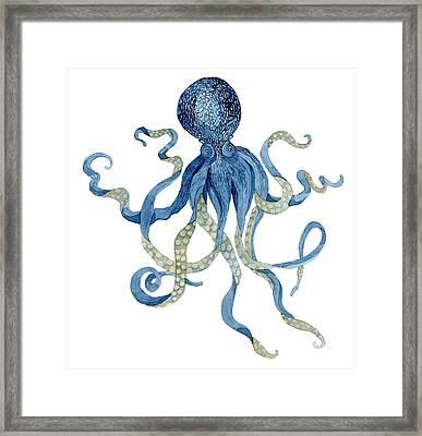 Indigo Ocean Blue Octopus  Framed Print by Audrey Jeanne Roberts