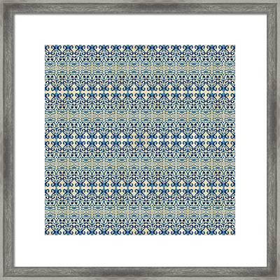 Indigo Ocean - Caribbean Tile Inspired Watercolor Swirl Pattern Framed Print by Audrey Jeanne Roberts