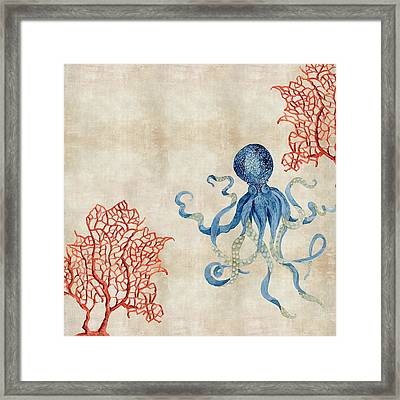 Indigo Ocean - Octopus Floating Amid Red Fan Coral Framed Print by Audrey Jeanne Roberts