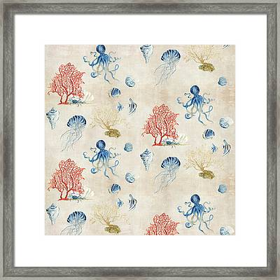 Indigo Ocean - Red Coral Octopus Half Drop Pattern Framed Print by Audrey Jeanne Roberts