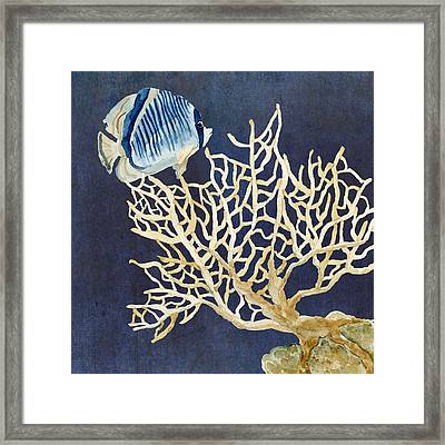 Indigo Ocean - Tan Fan Coral N Angelfish Framed Print by Audrey Jeanne Roberts