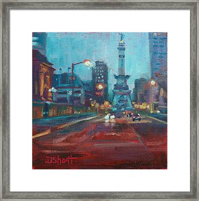 Indy Circle Night Framed Print by Donna Shortt