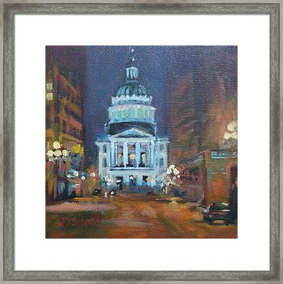 Indy Government Night Framed Print by Donna Shortt