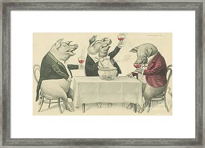 Ine Food And Song With Boars Framed Print by Artist from the past