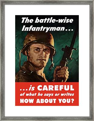 Infantryman Is Careful Of What He Says Framed Print by War Is Hell Store
