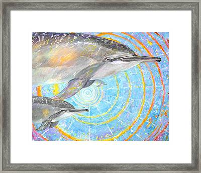 Infinite Dolphin Universe Framed Print by Tamara Tavernier