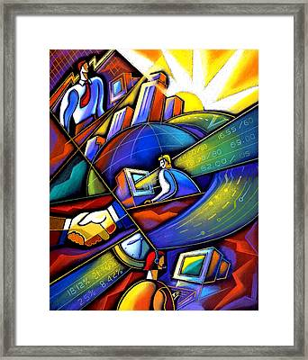 Information Age Framed Print by Leon Zernitsky