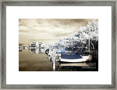 Infrared Boats At Lbi Blue Framed Print by John Rizzuto