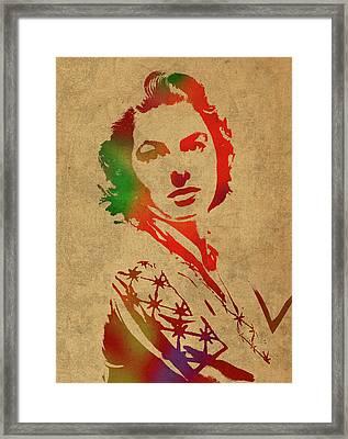 Ingrid Bergman Watercolor Portrait Framed Print by Design Turnpike
