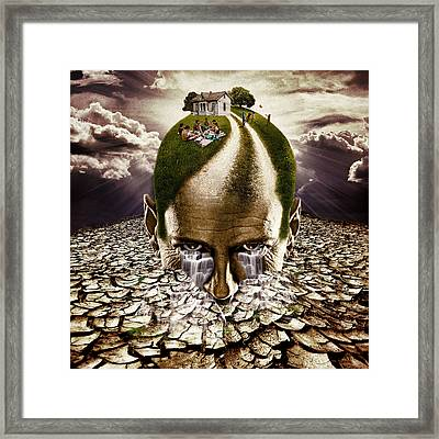 Digital Manipulation Framed Print featuring the digital art Inhabited Head by Marian Voicu