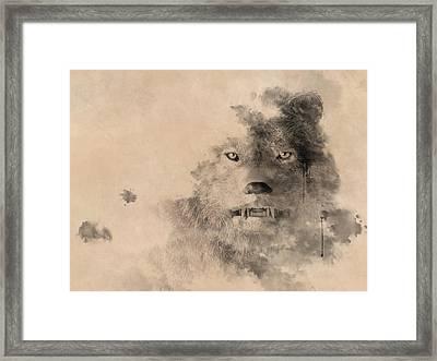 Ink Wolf Framed Print by Daniel Eskridge