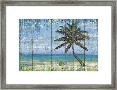 Inlet Palm - Distressed Framed Print by Paul Brent