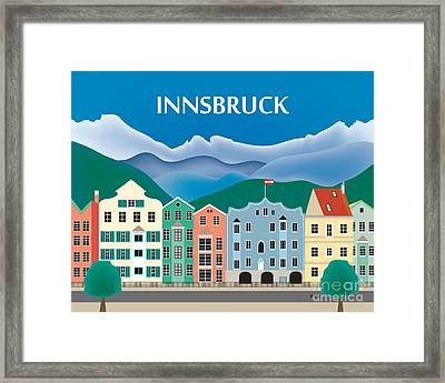 Innsbruck Austria Horizontal Skyline By Loose Petals Framed Print by Karen Young