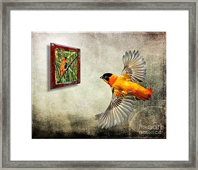 Inside Out. Red Bishop Framed Print by Jennie Breeze