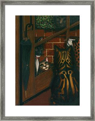 Inside Outside Cats Framed Print by Carol Wilson