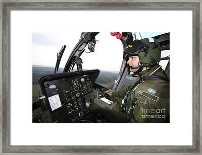 Inside The Mbb Bo 105 Helicopter Framed Print by Daniel Karlsson