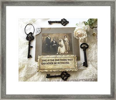 Inspirational Art - Vintage Wedding Photo With Antique Keys - Inspirational Vintage Black Keys Art  Framed Print by Kathy Fornal