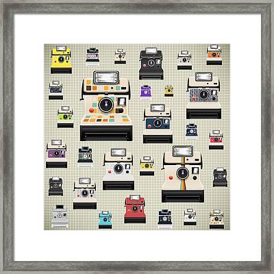 Instant Camera Pattern Framed Print by Setsiri Silapasuwanchai