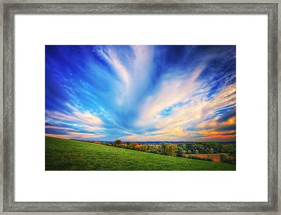 Intense Clouds - Fall Sunset - Retzer Nature Center - Waukesha Framed Print by The  Vault - Jennifer Rondinelli Reilly
