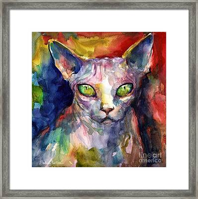 intense watercolor Sphinx cat painting Framed Print by Svetlana Novikova