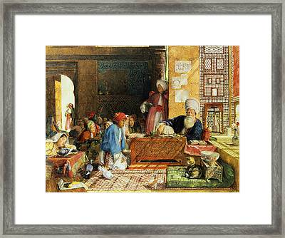 Interior Of A School - Cairo Framed Print by John Frederick Lewis