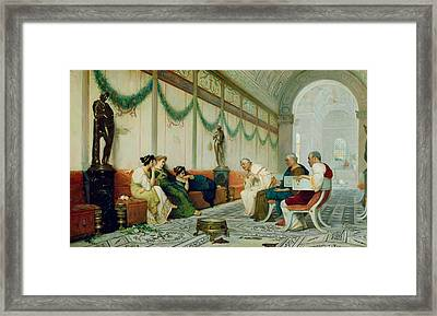 Interior Of Roman Building With Figures Framed Print by Ettore Forti