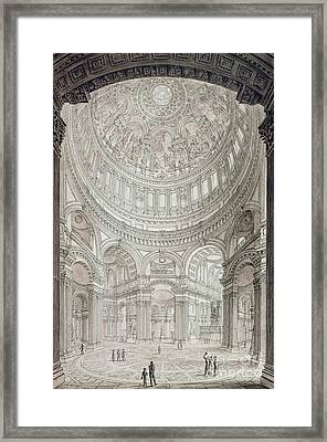 Interior Of Saint Pauls Cathedral Framed Print by John Coney