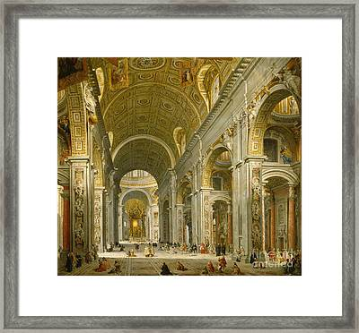 Interior Of St. Peter's - Rome Framed Print by Giovanni Paolo Panini