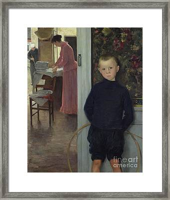 Interior With Women And A Child Framed Print by Paul Mathey